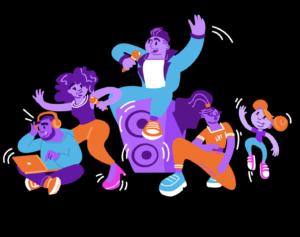 Een groep vrienden aan het zingen, dansen, rappen en produceren